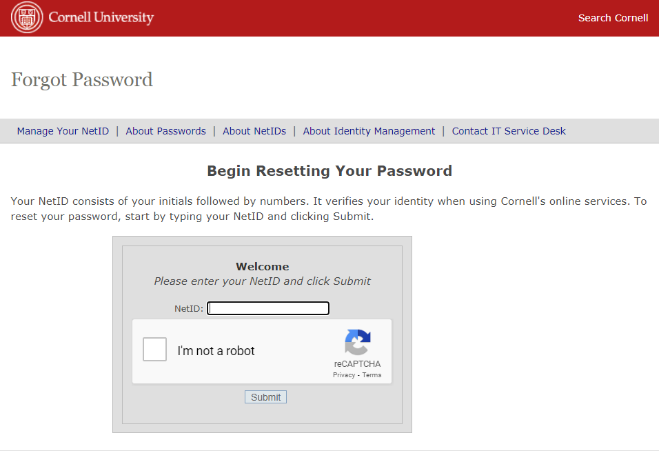 Cornell Employee Login Forgot Password