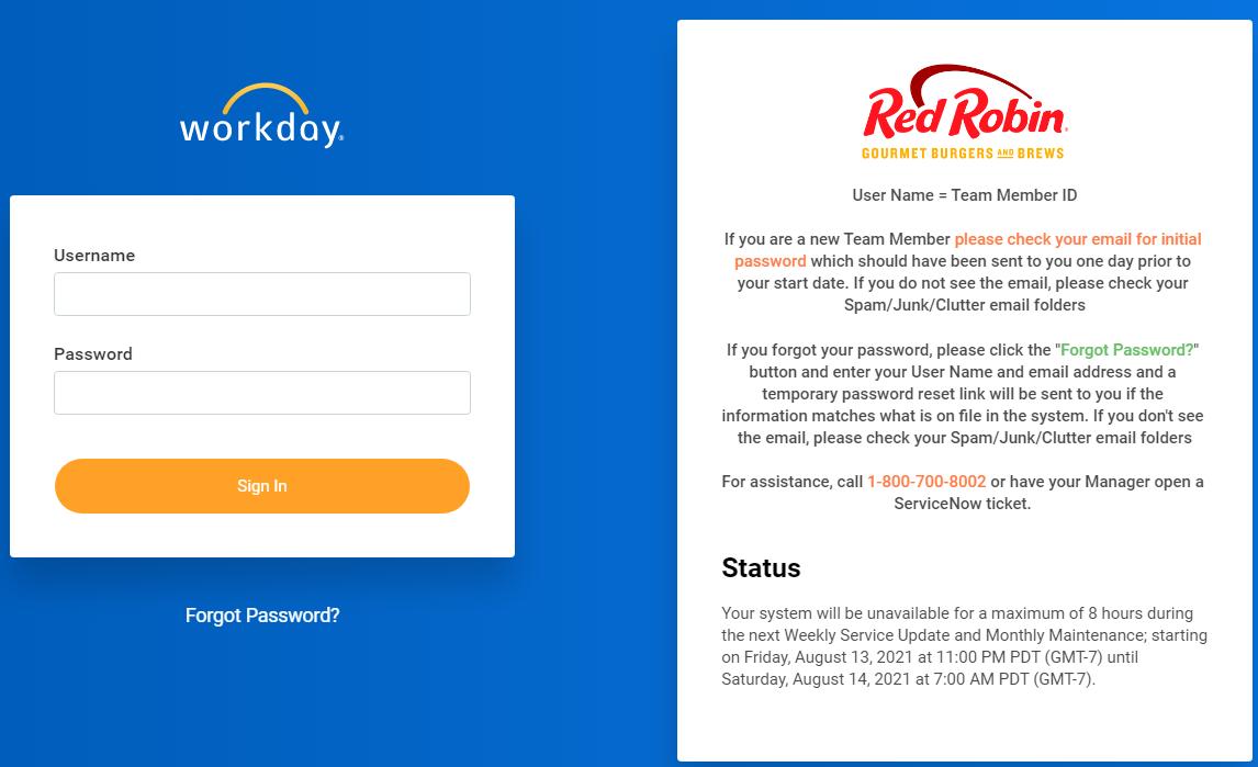 Red Robin Employee login