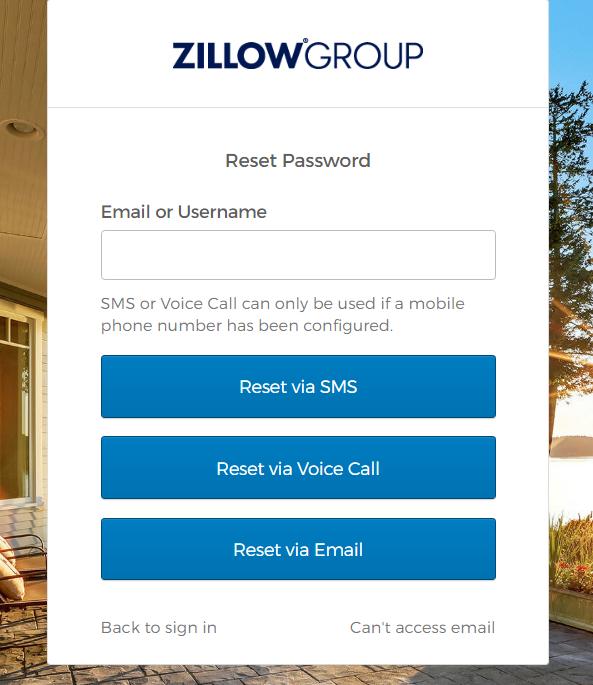 Zillow forgot password